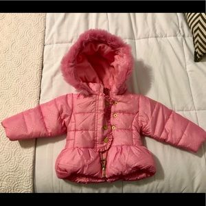 Girls' Clothing (newborn-5t) Lovely Infant Girls Pistachio Quilted Pink Puffer Jacket With Faux Leopard Trim 18m Nwt